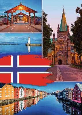 Trondheim Norway Collage (RB19845-0), a 1000 piece jigsaw puzzle by Ravensburger. Click to view larger image.