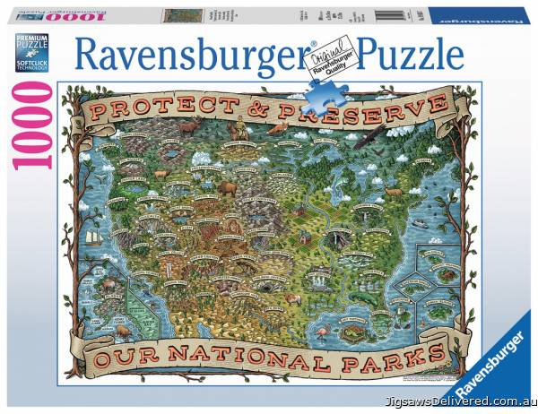 American National Parks (RB19859-7), a 1000 piece jigsaw puzzle by Ravensburger.