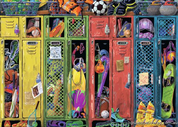 The Locker Room (RB19862-7), a 1000 piece jigsaw puzzle by Ravensburger.