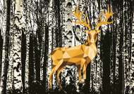 Deer in the Birch Forest (Touch of Gold) (RB19936-5), a 1200 piece Ravensburger jigsaw puzzle.