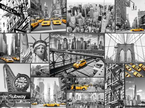 New York Cabs  (RB16354-0), a 1500 piece jigsaw puzzle by Ravensburger. Click to view larger image.