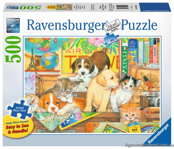 Pets on Tour (Large Pieces) (RB14965-0), a 500 piece jigsaw puzzle by Ravensburger.