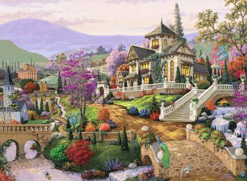 Hillside Retreat (RB14806-6), a 500 piece jigsaw puzzle by Ravensburger. Click to view larger image.