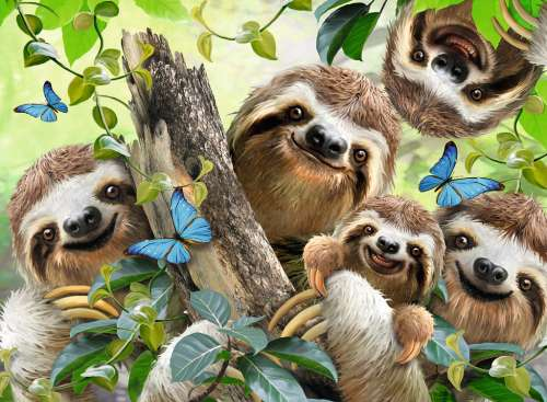 Sloth Selfie (RB14790-8), a 500 piece jigsaw puzzle by Ravensburger. Click to view larger image.
