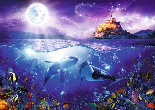 Orcas in the Moonlight (Whales) (RB19791-0), a 1000 piece jigsaw puzzle by Ravensburger. Click to view larger image.