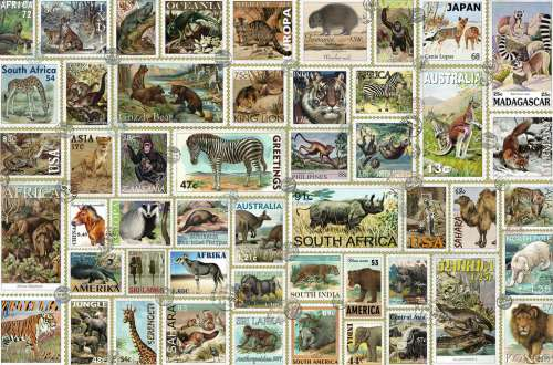 Animal Stamps (RB17079-1), a 3000 piece jigsaw puzzle by Ravensburger. Click to view larger image.