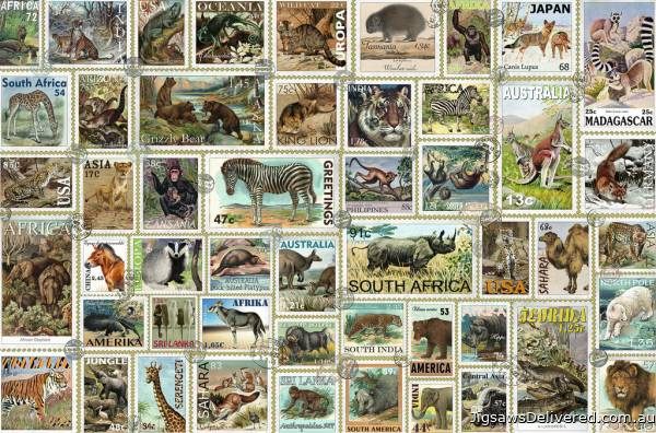 Animal Stamps (RB17079-1), a 3000 piece jigsaw puzzle by Ravensburger.