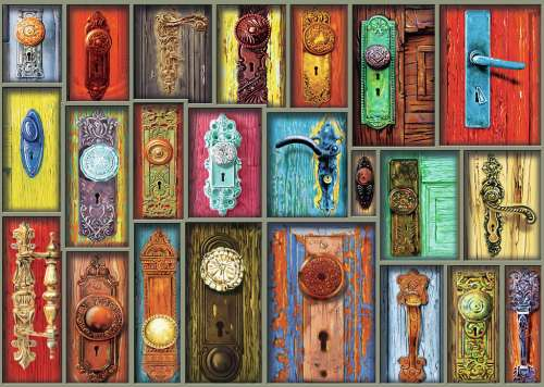 Antique Doorknobs (RB19863-4), a 1000 piece jigsaw puzzle by Ravensburger. Click to view larger image.