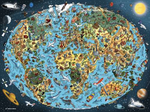 Cartoon Earth  (RB16360-1), a 1500 piece jigsaw puzzle by Ravensburger. Click to view larger image.
