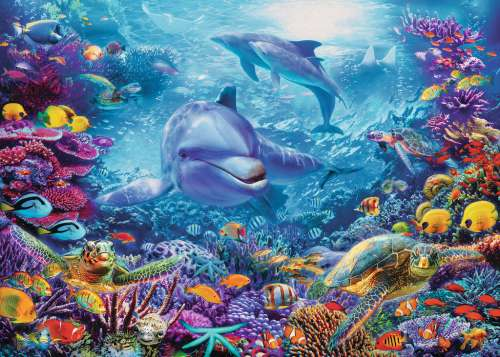 Magnificent Underwater World (RB19833-7), a 1000 piece jigsaw puzzle by Ravensburger. Click to view larger image.