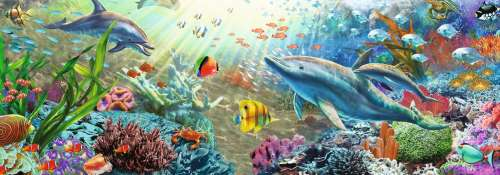 Underwater Paradise (Panoramic) (JUM18519), a 1000 piece jigsaw puzzle by Jumbo. Click to view larger image.