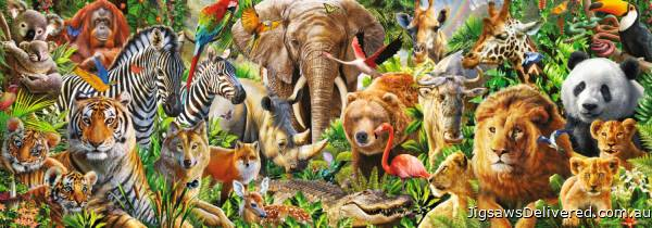 African Wildlife (Panoramic) (JUM18518), a 1000 piece jigsaw puzzle by Jumbo.