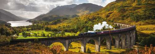 Glenfinnan Railway, Scotland (Panoramic) (JUM18521), a 1000 piece jigsaw puzzle by Jumbo. Click to view larger image.