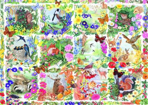 Country Calendar (JUM11190), a 1000 piece jigsaw puzzle by Jumbo. Click to view larger image.