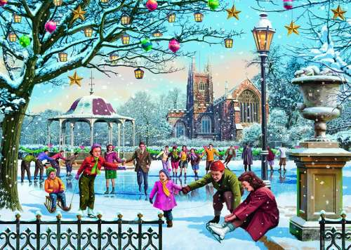 Festive Skaters (JUM11185), a 1000 piece jigsaw puzzle by Jumbo. Click to view larger image.