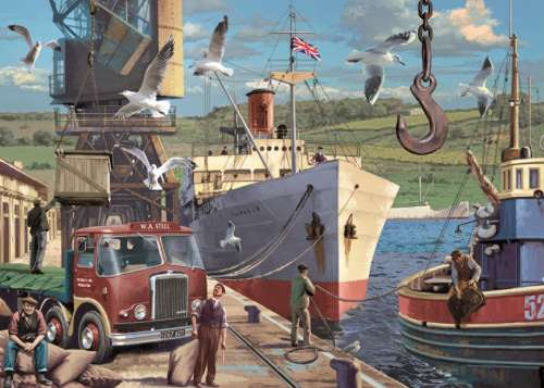 Down at the Docks (JUM11178), a 1000 piece jigsaw puzzle by Jumbo. Click to view larger image.