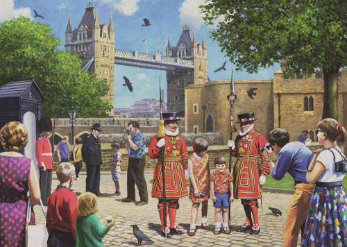 Beefeaters at the Tower Bridge, London (JUM11177), a 1000 piece jigsaw puzzle by Jumbo. Click to view larger image.