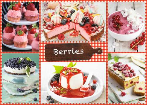 Berries and Recipes (JUM18594), a 1000 piece jigsaw puzzle by Jumbo. Click to view larger image.
