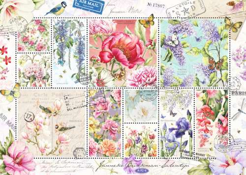 Flower Stamps (JUM18597), a 1000 piece jigsaw puzzle by Jumbo. Click to view larger image.
