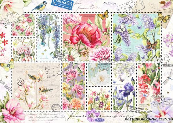 Flower Stamps (JUM18597), a 1000 piece jigsaw puzzle by Jumbo.