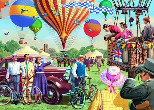 Up and Away (Hot Air Balloons) (JUM11189), a 1000 piece jigsaw puzzle by Jumbo. Click to view larger image.