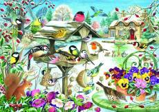 Winter Garden Birds (JUM11183), a 500 piece Jumbo jigsaw puzzle.