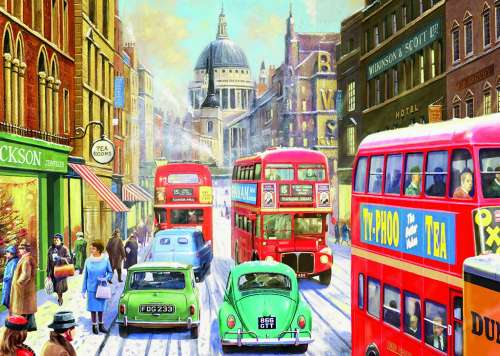 Snow in London City (JUM11192), a 1000 piece jigsaw puzzle by Jumbo. Click to view larger image.