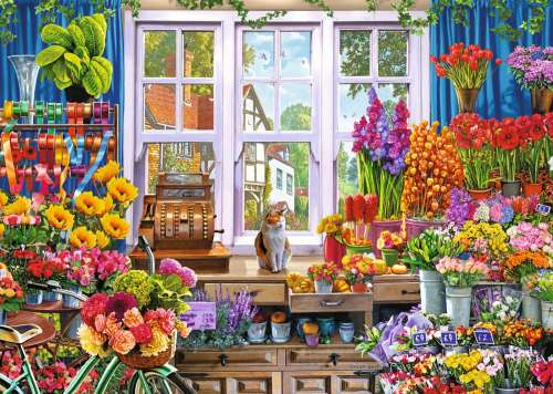 Flora's Flower Shoppe (JUM11196), a 1000 piece jigsaw puzzle by Jumbo. Click to view larger image.