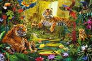 Tigers in the Jungle (JUM18525), a 1500 piece Jumbo jigsaw puzzle.