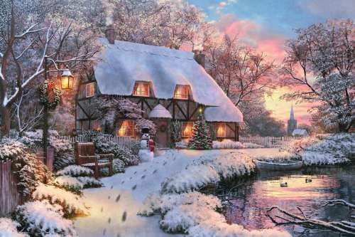 Winter Cottage (JUM18526), a 1500 piece jigsaw puzzle by Jumbo. Click to view larger image.