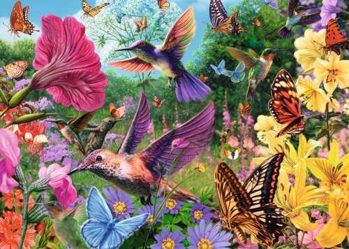 Hummingbirds (Large Pieces) (JUM18513), a 500 piece jigsaw puzzle by Jumbo. Click to view larger image.