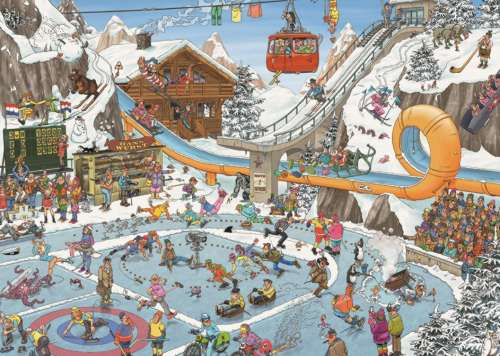 Winter Games (JUM19065), a 1000 piece jigsaw puzzle by Jumbo. Click to view larger image.