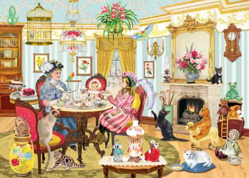 High Tea with Mum (Looking Back) (HOL770229), a 1000 piece jigsaw puzzle by Holdson. Click to view larger image.
