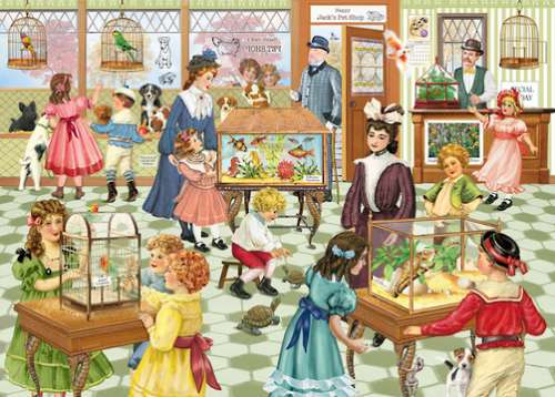 Happy Jack's Pet Shop (Looking Back) (HOL770212), a 1000 piece jigsaw puzzle by Holdson. Click to view larger image.