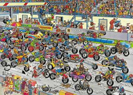 Motorbike Race (JUM02046), a 1000 piece jigsaw puzzle by Jumbo. Click to view larger image.