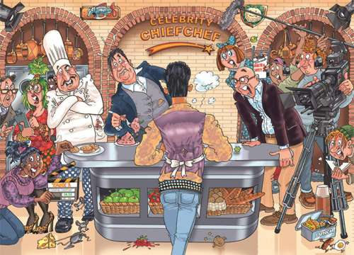 Celebrity Chief Chef! (Original Wasgij #26) (HOL770274), a 1000 piece jigsaw puzzle by Holdson. Click to view larger image.