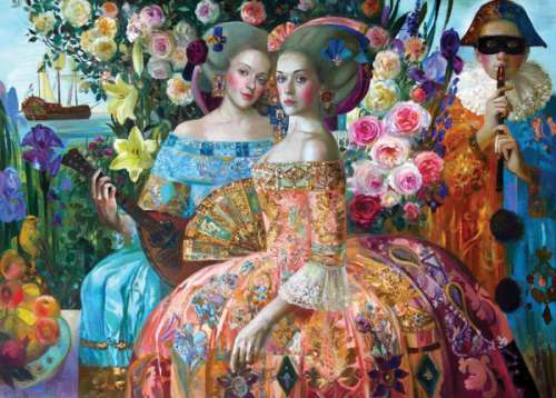 Sisters (Renaissance Realm) (HOL770779), a 1000 piece jigsaw puzzle by Holdson. Click to view larger image.