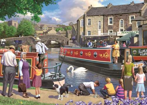 Sunday on the Canal (JUM11206), a 1000 piece jigsaw puzzle by Jumbo. Click to view larger image.