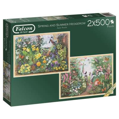 Spring and Summer Hedgerow (2 x 500pc) (JUM11104), a 500 piece jigsaw puzzle by Jumbo. Click to view larger image.