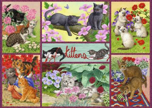 Playful Kittens (JUM11211), a 500 piece jigsaw puzzle by Jumbo. Click to view larger image.