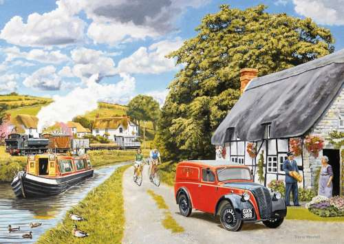 Parcel for Canal Cottage (Large Pieces) (JUM11214), a 200 piece jigsaw puzzle by Jumbo. Click to view larger image.