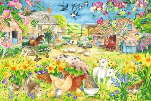 Lambing Season (Large Pieces) (JUM11212), a 500 piece jigsaw puzzle by Jumbo. Click to view larger image.