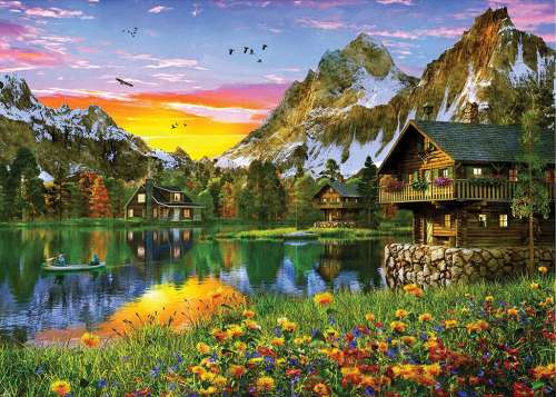 Alpine Sunset (Sunsets) (HOL770359), a 1000 piece jigsaw puzzle by Holdson. Click to view larger image.