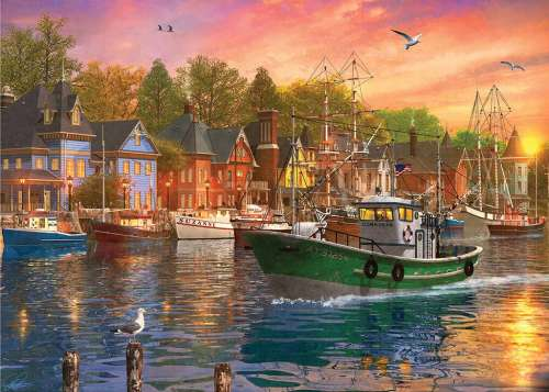 Day on the Harbour (Sunsets) (HOL770366), a 1000 piece jigsaw puzzle by Holdson. Click to view larger image.