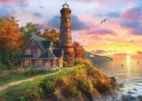 Lighthouse Point (Sunsets) (HOL770373), a 1000 piece jigsaw puzzle by Holdson. Click to view larger image.