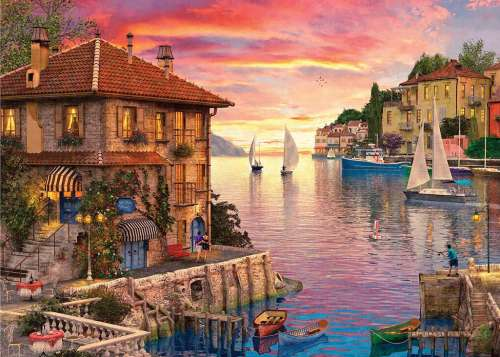 Mediterranean Harbour (Sunsets) (HOL770380), a 1000 piece jigsaw puzzle by Holdson. Click to view larger image.