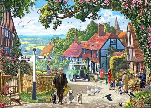 Village Bus (Large Pieces) (HOL770960), a 500 piece jigsaw puzzle by Holdson. Click to view larger image.