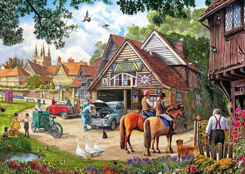 Village Garage (Large Pieces) (HOL770977), a 500 piece jigsaw puzzle by Holdson. Click to view larger image.