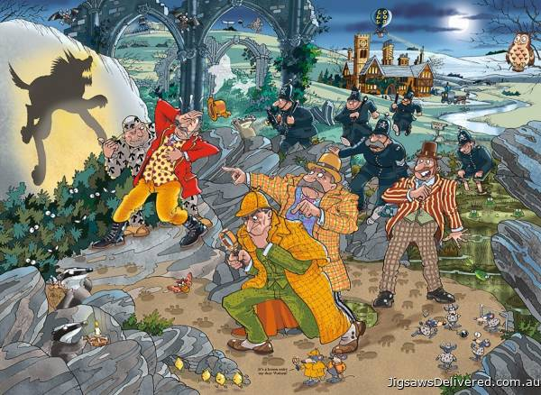 The Hound of Wasgijville! (Mystery Wasgij 14) (HOL770397), a 1000 piece jigsaw puzzle by Holdson.