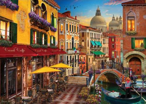 Venice Canal Cafe (HOL770441), a 1000 piece jigsaw puzzle by Holdson. Click to view larger image.